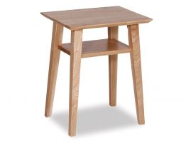 Copenhagen Bedside Table w Shelf - Oak