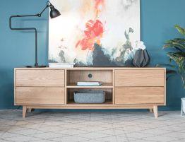Copenhagen TV Cabinet - 4 Drawers - 2 Shelves - 180cm - Oak