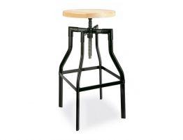 Turner Adjustable Industrial Stool 66cm to 75cm Ash Wood Seat - Black  sc 1 st  Relax House & Black Turner Industrial Stool Solid Teak Wood Seat islam-shia.org