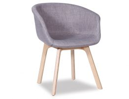 Lonsdale Arm Chair - Natural - Grey Fabric