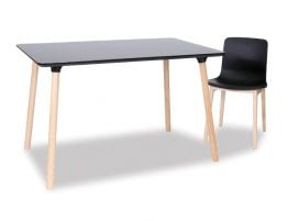 Massa Table - 120x80cm - Natural Legs - Black Top