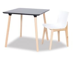 Massa Table - 80x80cm - Natural Legs - Black Top