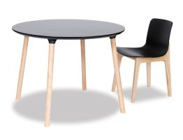Massa Table - Round 100cm - Natural Legs - Black Top