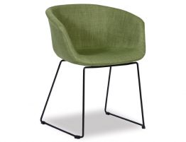 Lonsdale Arm Chair - Black Sled - Green Fabric