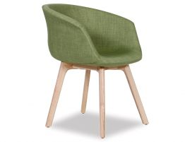 Lonsdale Arm Chair -  Natural - Green Fabric