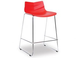 Willow Stool - Chrome - Red Shell