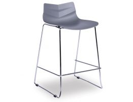 Willow Stool - Chrome - Grey Shell