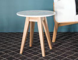 Copenhagen Side Table - Round - Marble - Oak