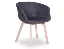 Lonsdale Arm Chair - Natural - Charcoal Fabric