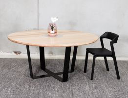 Wilma Premium Vic Ash Solid Steel Leg Round Dining Table