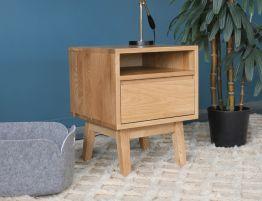 Copenhagen Square Bedside Table w Draw & Shelf - Oak