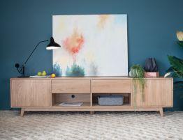 Copenhagen TV Cabinet - 6 Drawers - 2 Shelves - 240cm - Oak