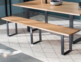 Odense Bench Seat - 210cm - Natural - Black Steel Legs