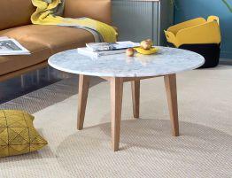 Copenhagen Coffee Table - Round 80cm - Marble - Oak