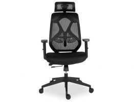 Trieste Office Chair with Headrest - Black -Black Padded Seat
