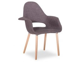 Mod Arm Chair - Natural or Walnut - Charcoal Fabric
