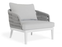 Alma Lounge Chair - Outdoor - Single - White - Light Grey Cushion