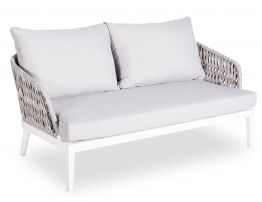 Alma Lounge Chair - Outdoor - Two Seater - White - Light Grey Cushion
