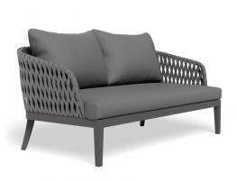 Alma Lounge Chair - Outdoor - Two Seater - Charcoal - Dark Grey Cushion