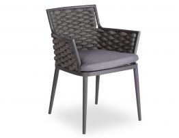 Siano Dining Chair - Outdoor - Charcoal - Dark Grey Cushion
