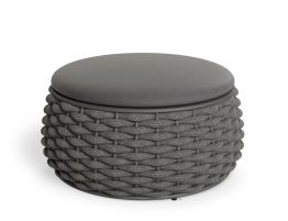 Siano Large Storage Pouf - Outdoor - Charcoal - Dark Grey Cushion