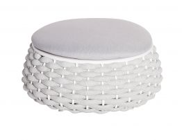 Siano Large Storage Pouf - Outdoor - White - Light Grey Cushion