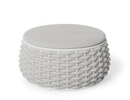 Siano Large Storage Pouf - Outdoor - White - Light Grey Cushion