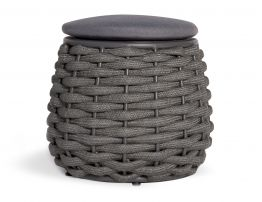 Siano Small Storage Pouf - Outdoor - Charcoal - Dark Grey Cushion