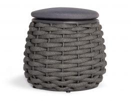 Siano Small Storage Pouf - Outdoor - Charcoal - Dark Grey Cushion
