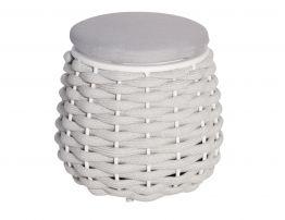 Siano Small Storage Pouf - Outdoor - White -Light Grey Cushion