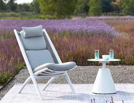 Minori Lounge Chair - Outdoor - White - Light Grey Cushion