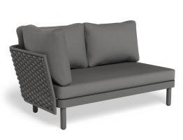 Siano Modular Left Arm 2 Seater - Outdoor - Charcoal - Dark Grey Cushion