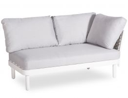 Siano Modular Right Arm 2 Seater - Outdoor - White - Light Grey Cushion