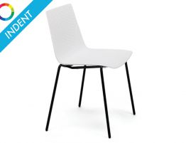 Flint Dining Chair - Black Powdercoated 4 Post Legs - Indent