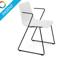 Flint Dining Chair - Sled Legs & Arm Rests - Indent