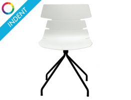 Feather Chair - 4 way Legs - White Shell - Swivel - Indent