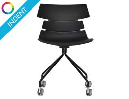 Feather Chair - 4 way Legs - Black Shell - Swivel - Indent