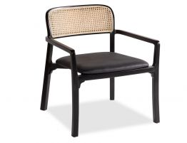 Vika Arm Chair - Black with Cane Back