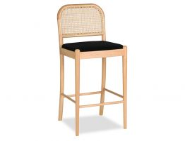 Vika Stool - Natural - Black Pad - Cane Back