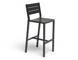 Halki Stool With Backrest - Charcoal