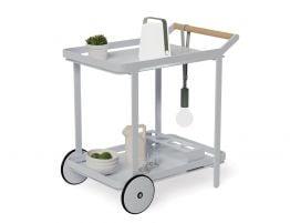 Imola Outdoor Bar Cart - Matt Silver Grey