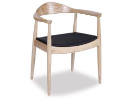Bow Arm Chair - Natural - Black Pad