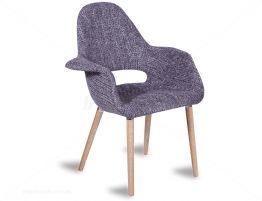 Mod Arm Chair - Natural or Walnut - Light Grey Fabric