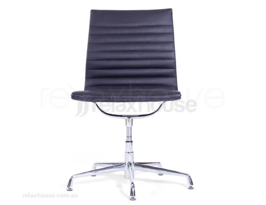 Replica eames aluminum group side office chair black fine grain leather - Eames aluminum group lounge chair replica ...