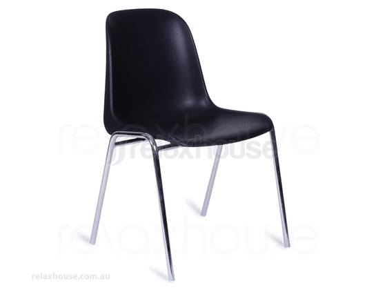 Retro Cafeteria Indoor Chair Black Stacking