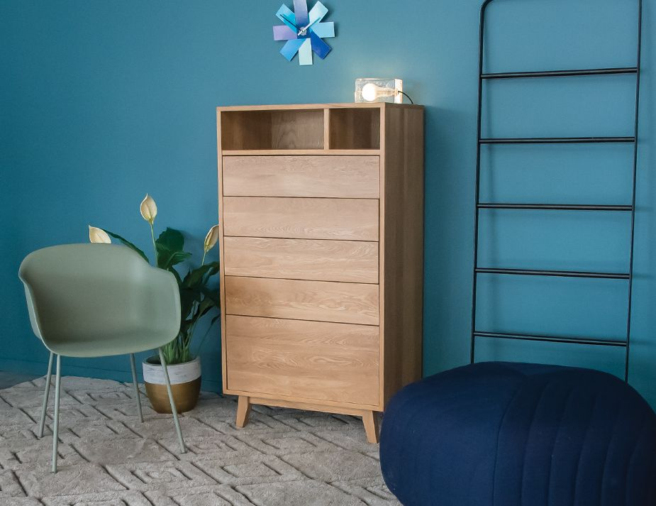 Modern Oak Dresser Tall Boy Chest Bedroom Furniture