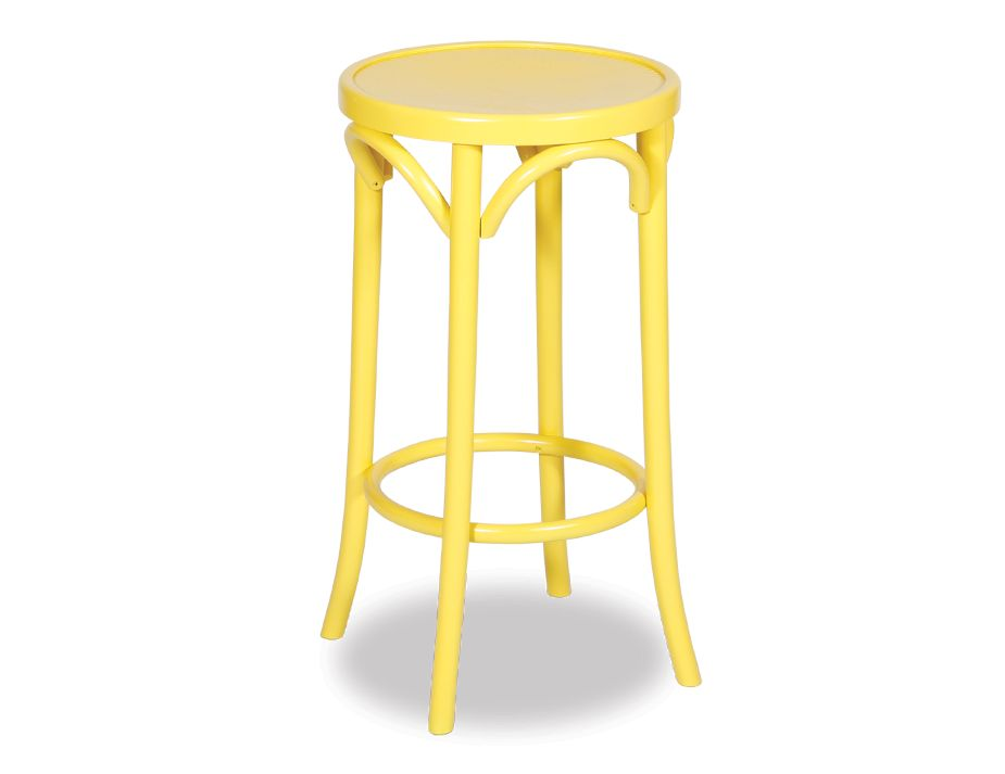 Original European Made Paris Slim Line Bentwood cm Timber Stool Embossed Sunset Seat Michael Thonet Designed Yellow