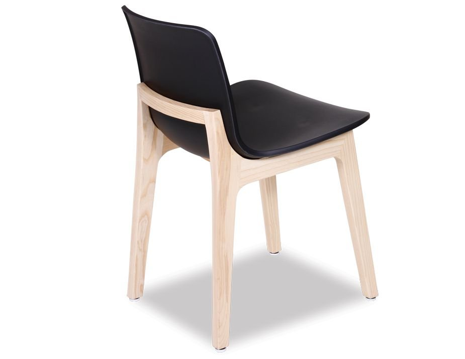 Black plastic dining chair with solid timber frame for Black plastic dining chairs