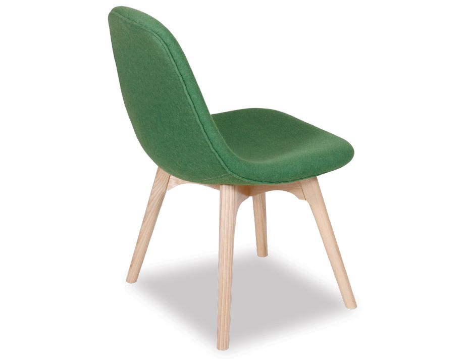 Green Wool Amp Solid Ash Modern Contour Dining Chairs