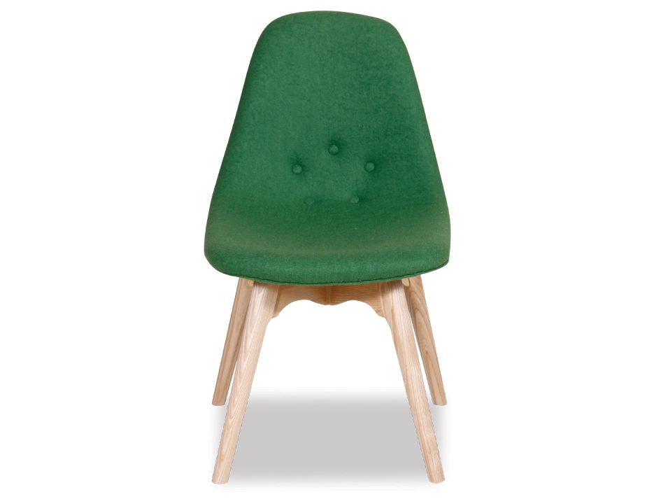 Green Wool & Solid Ash Modern Contour Dining Chairs